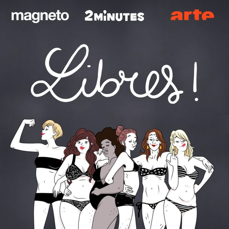 Un dessin de 6 femmes en maillot de bain sur fond noir